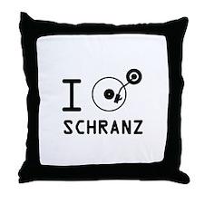 I play Schranz / I love Schranz/ I he Throw Pillow