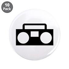 """Radio Music ghettoblaster 3.5"""" Button (10 pack)"""