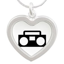Radio Music ghettoblaster Silver Heart Necklace