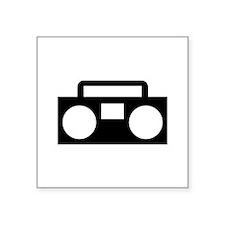 "Radio Music ghettoblaster Square Sticker 3"" x 3"""