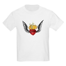 I Love You Winged Heart Kids T-Shirt