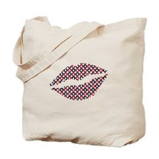 Red White And Blue Stars Lips Tote Bag