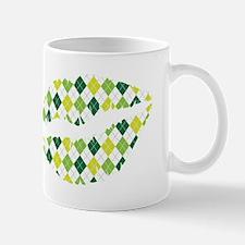 Green Argyle Pattern Lips Mugs