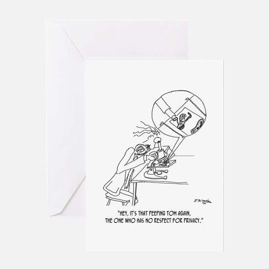 Peeping Tom With a Microscope Greeting Card