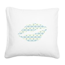 Blue Clouds And Stars Lips Square Canvas Pillow