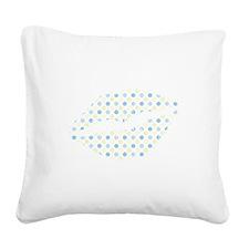 Blue Polka Dots Lips Square Canvas Pillow