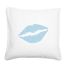 Blue Scales Lips Square Canvas Pillow