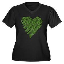 Green Leaves Heart Women's Plus Size V-Neck Dark T