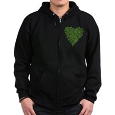 Green Leaves Heart Zip Hoodie