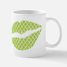 Green Quatrefoil Lips Mugs