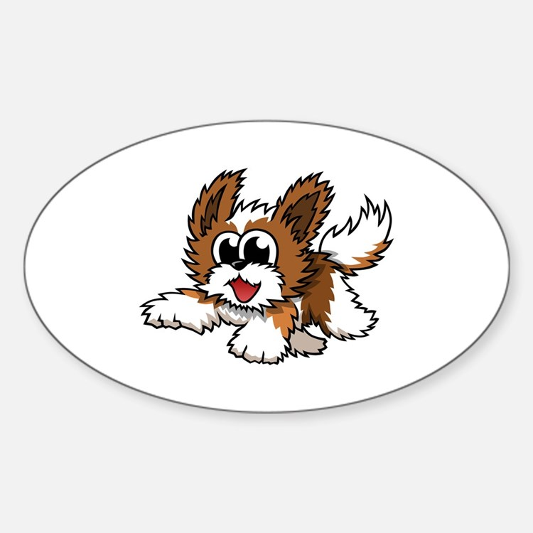 Cartoon Shih Tzu Sticker (Oval)
