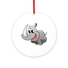 Cartoon Rhinoceros Ornament (Round)