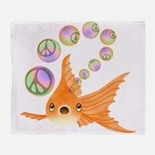 Goldfish Peace Bubbles 2 Throw Blanket