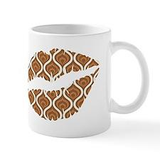 Brown Retro Waves Lips Mugs