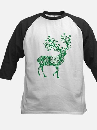 Snowflake Reindeer Silhouette - Green Baseball Jer