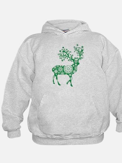 Snowflake Reindeer Silhouette - Green Hoodie