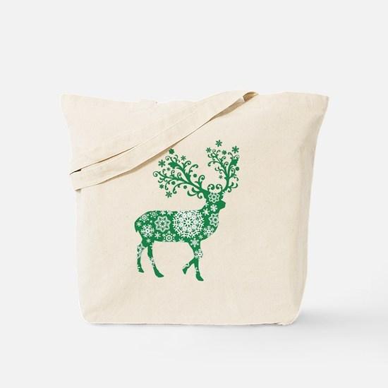 Snowflake Reindeer Silhouette - Green Tote Bag