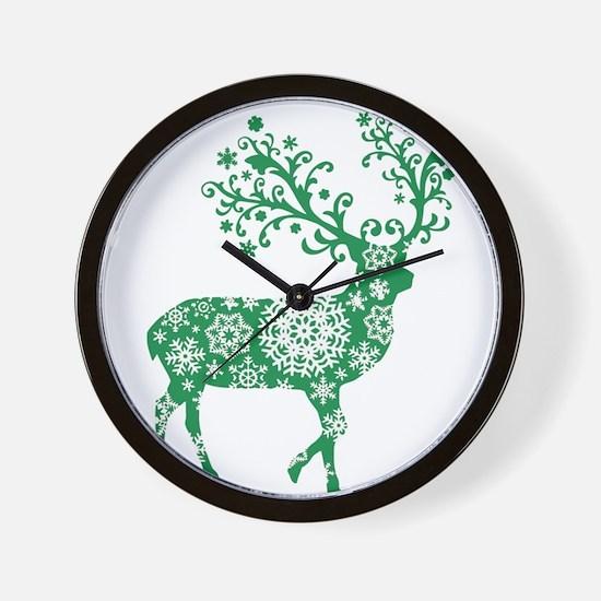 Snowflake Reindeer Silhouette - Green Wall Clock