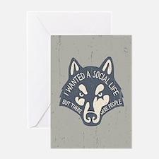 Anti-Social Wolf Greeting Card
