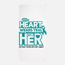 My heart wears teal for her - Teal Black Beach Tow