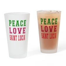 Peace Love Saint Lucia Drinking Glass