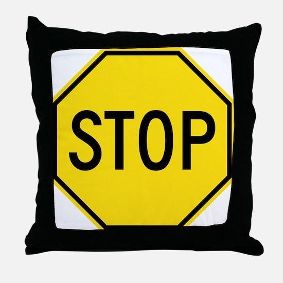 Yellow Stop Sign Throw Pillow