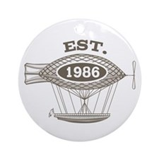 Vintage Birthday Est 1986 Ornament (Round)