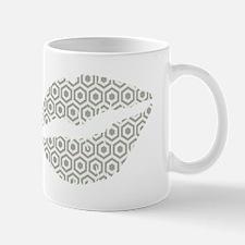 Grey Hexagon Honeycomb Lips Mugs