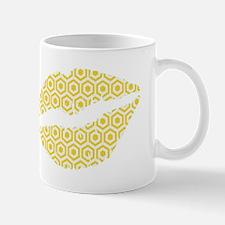 Yellow Hexagon Honeycomb Lips Mugs