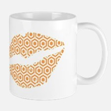 Orange Hexagon Honeycomb Lips Mugs