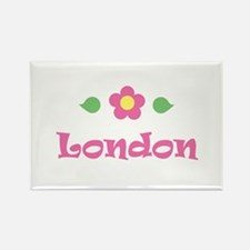 "Pink Daisy - ""London"" Rectangle Magnet"