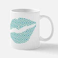Blue Hexagon Honeycomb Lips Mugs