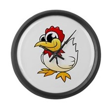 Cartoon Chicken Large Wall Clock