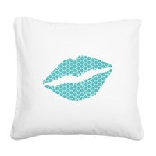 Blue Honeycomb Lips Square Canvas Pillow