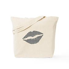 Black Herringbone Bricks Lips Tote Bag