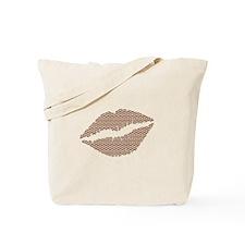 Brown Herringbone Bricks Lips Tote Bag