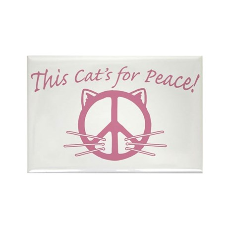 Pink Peace Cat Rectangle Magnet