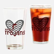 Jenks Trojans Chevron Heart Drinking Glass