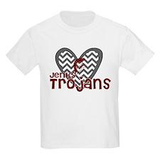 Jenks Trojans Chevron Heart T-Shirt