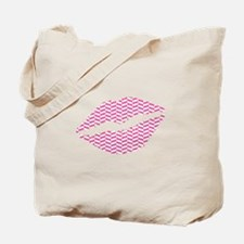 Pink Herringbone Lips Tote Bag