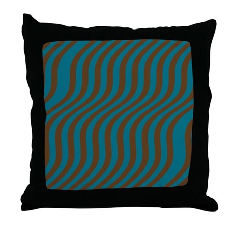 Baby Blue And Brown Throw Pillows : Slate Blue and Brown Stripes Throw Pillow by stripstrapstripes