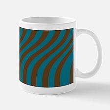 Slate Blue and Brown Stripes Mugs
