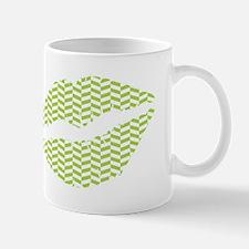 Green Herringbone Lips Mugs