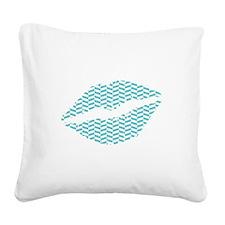 Blue Herringbone Lips Square Canvas Pillow