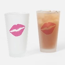 Pink Fish Scales Lips Drinking Glass