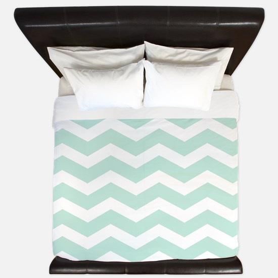 Mint Chevron King Duvet