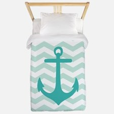 Mint Anchor Chevron Twin Duvet