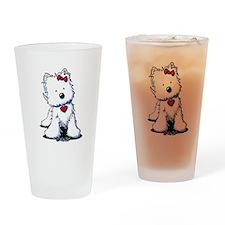 Westie Heart Girl Drinking Glass