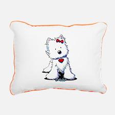 Westie Heart Girl Rectangular Canvas Pillow