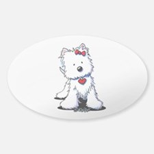 Westie Heart Girl Sticker (Oval)